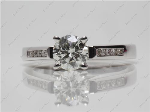 White Gold 0.70 Round cut Diamond Channel Ring