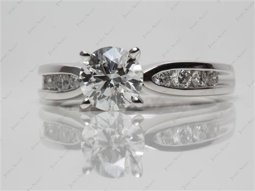 Platinum 1.04 Round cut Channel Set Diamond Ring