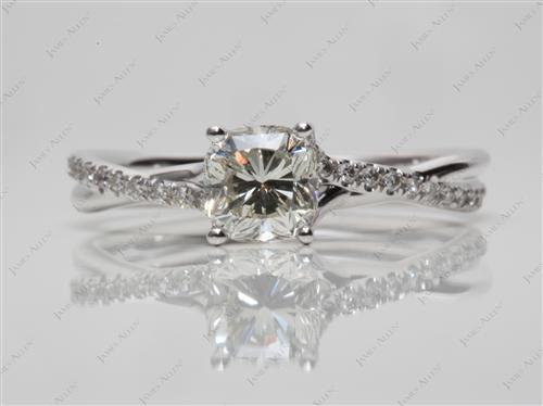 White Gold 1.09 Cushion cut Micro Pave Engagement Rings