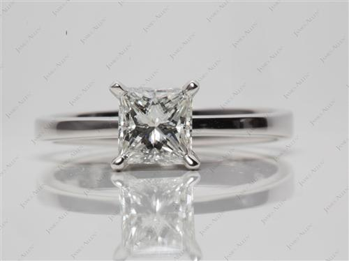 White Gold 1.02 Princess cut Diamond Engagement Solitaire Rings