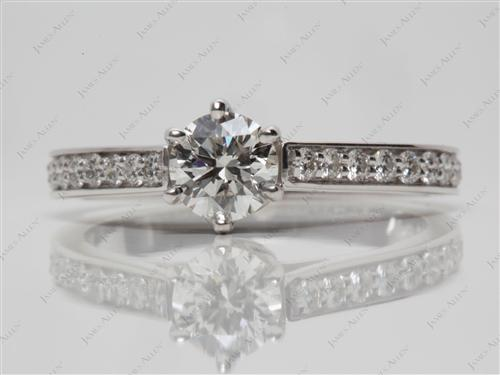White Gold 0.74 Round cut Engagement Rings Pave