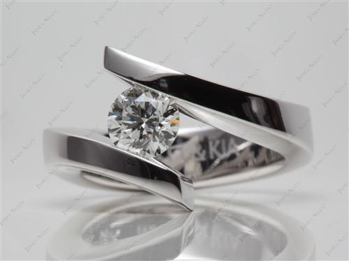 White Gold 0.70 Round cut Tension Diamond Ring