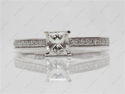 White Gold 0.64 Princess cut Diamond Ring