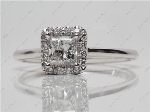 White Gold 0.60 Princess cut Engagement Rings