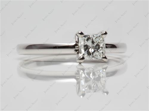 White Gold 0.71 Princess cut Diamond Solitaire Ring Settings
