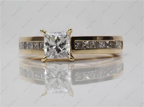 Gold 0.70 Princess cut Channel Set Diamonds