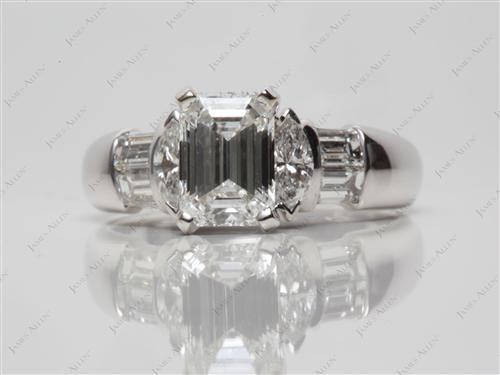 White Gold 1.10 Emerald cut Engagement Ring