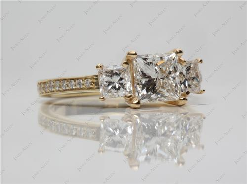 Gold 1.21 Princess cut Three Stones Diamonds Rings