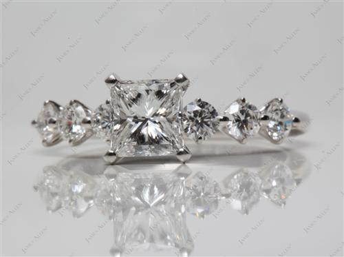 Platinum 1.02 Princess cut Diamond Rings