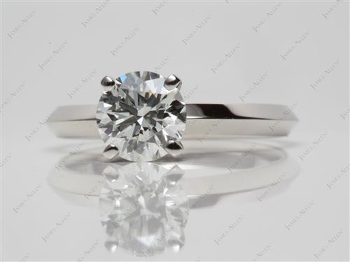 Platinum 1.30 Round cut Solitaire Ring Settings