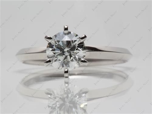 Platinum 0.91 Round cut Diamond Engagement Solitaire Rings