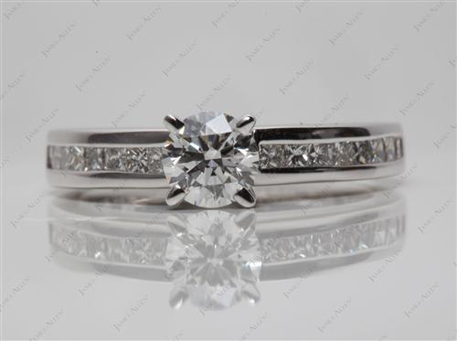 White Gold 0.60 Round cut Diamond Channel Ring