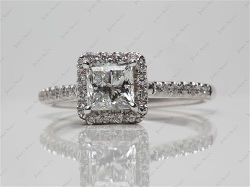 White Gold 0.76 Princess cut Pave Diamond Ring