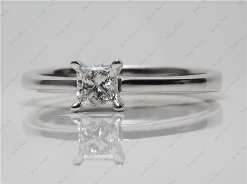 Platinum 0.51 Princess cut Solitaire Diamond Ring