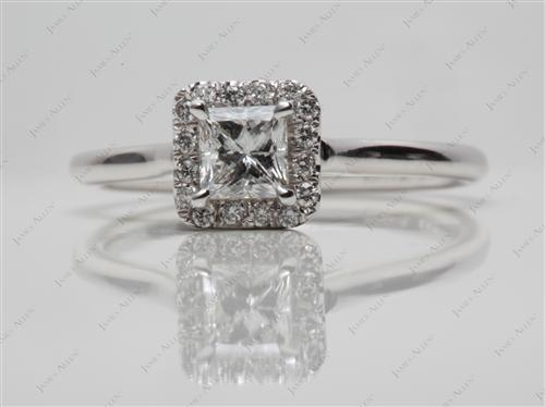 White Gold 0.44 Princess cut Engagement Rings Pave