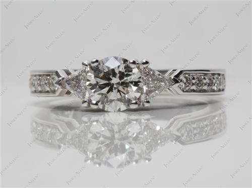 White Gold 0.65 Round cut Three Stones Diamond Rings