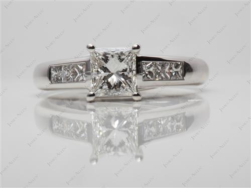White Gold 1.03 Princess cut Diamond Channel Ring