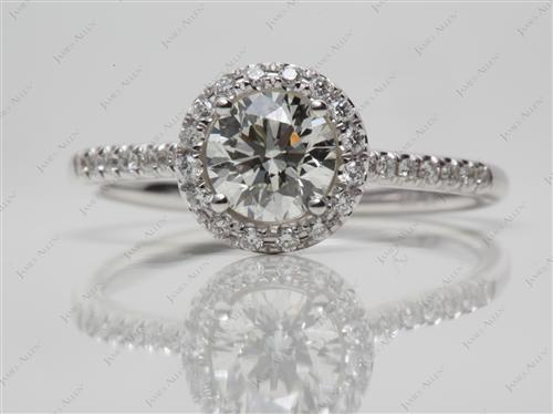 White Gold 0.80 Round cut Pave Engagement Ring