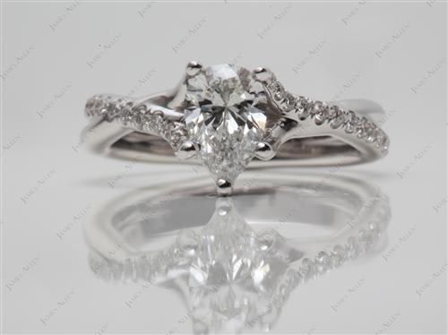 White Gold 0.53 Pear shaped Pave Ring Set