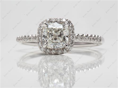 White Gold 1.22 Cushion cut Pave Diamond Engagement Rings
