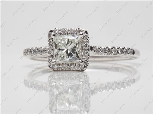 White Gold 0.75 Princess cut Diamond Rings