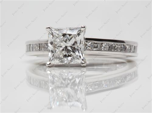 Platinum 1.50 Princess cut Channel Cut Ring
