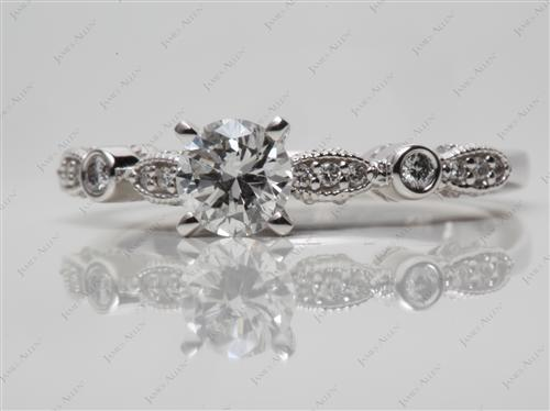 White Gold 0.61 Round cut Engagement Ring With Side Stones