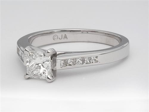 White Gold 0.69 Princess cut Diamond Ring With Side Stones