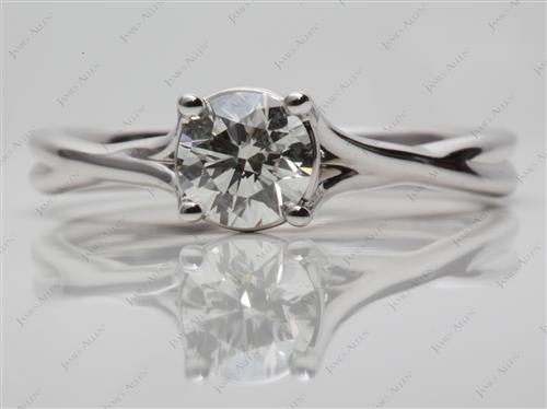 White Gold 0.80 Round cut Diamond Solitaire Engagement Ring