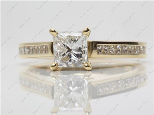 Gold 1.01 Princess cut Channel Rings
