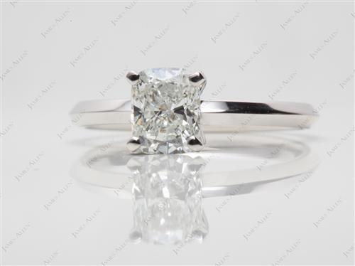 White Gold 1.03 Cushion cut Solitaire Ring Mountings