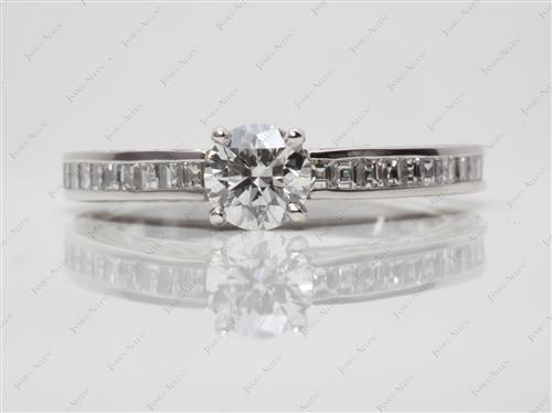 Platinum 0.60 Round cut Channel Setting Engagement Rings
