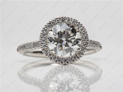 Platinum 1.71 Round cut Pave Ring Settings