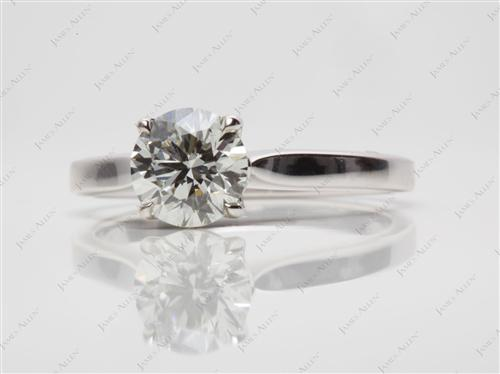White Gold 1.00 Round cut Solitaire Engagement Ring