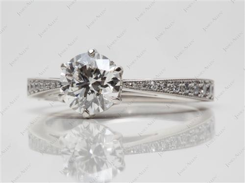 Platinum 0.91 Round cut Pave Diamond Engagement Rings