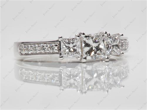 White Gold 0.50 Princess cut Three Stones Settings
