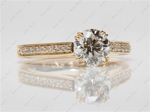 Gold 1.00 Round cut Engagement Rings Pave