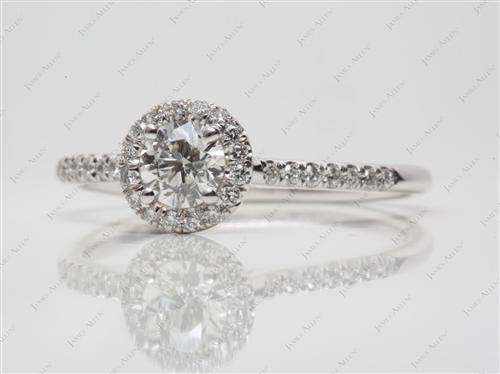 White Gold 0.50 Round cut Pave Diamond Ring