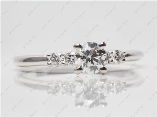 White Gold 0.46 Round cut Engagement Ring Settings With Side Stones