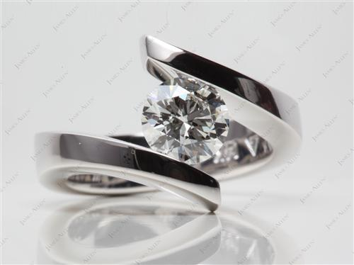 White Gold 1.24 Round cut Tension Set Engagement Rings