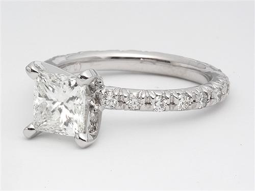White Gold 1.05 Princess cut Micro Pave Engagement Rings