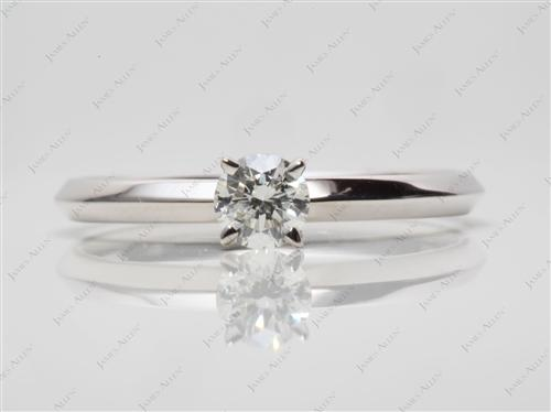 White Gold 0.32 Round cut Solitaire Ring Mountings