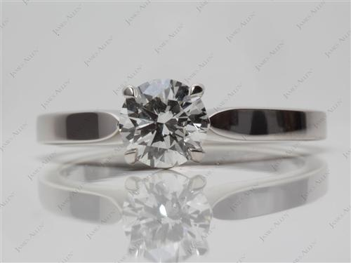 Platinum 0.77 Round cut Solitaire Rings