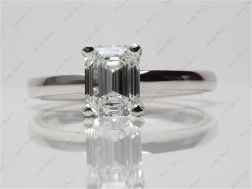 Platinum 1.20 Emerald cut Solitaire Engagement Ring
