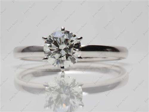 White Gold 1.00 Round cut Diamond Rings