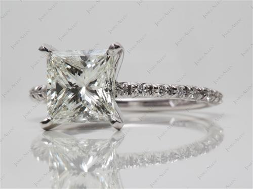 White Gold 2.03 Princess cut Pave Diamond Engagement Ring
