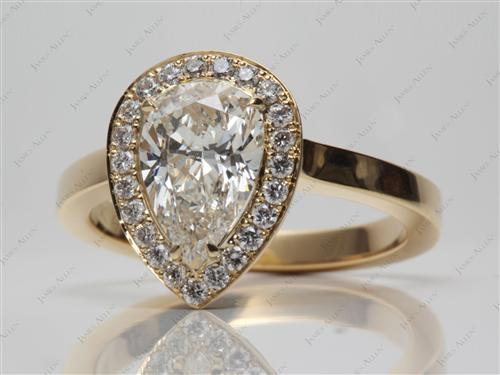 Gold 1.42 Pear shaped Engagement Ring Micro Pave