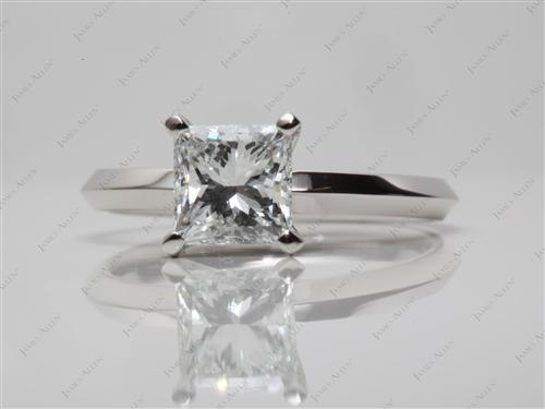 Platinum 0.98 Princess cut Diamond Engagement Solitaire Rings