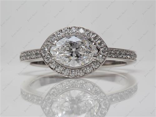 Platinum 1.01 Marquise cut Engagement Ring