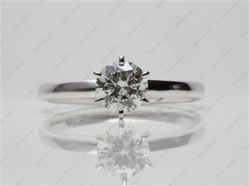 White Gold 0.75 Round cut Solitaire Ring Mountings